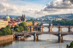 View of Vltava river with bridges in Prague Stock Photo