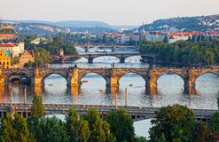 View of the Vltava River and the bridges. Shined with the sunset sun, Prague, the Czech Republic Stock Photo