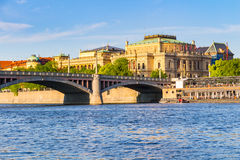 View of the Vltava River and the bridges shined with the sunset sun, Prague, Czech Republic Royalty Free Stock Photo