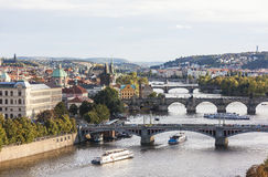View of the Vltava River and bridges at sunset. Prague. Czech Republic. Royalty Free Stock Photography