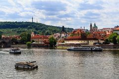 View of Vltava River and Castle of Prague on a sunny day royalty free stock images