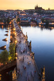 View of Vltava river with Charles bridge Stock Images