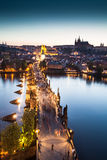 View of Vltava river with Charles bridge Stock Photos