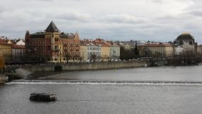 View of a Vltava river in Prague city stock video footage