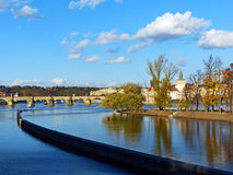 View of the Vltava River and Charles Bridge in the Royalty Free Stock Photo