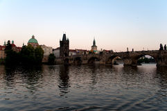 View of Vltava River Embankment, Prague Stock Image