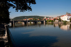 View of Vltava River Embankment, Prague Royalty Free Stock Photography