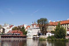 View of Vltava River Embankment, Prague Stock Photo