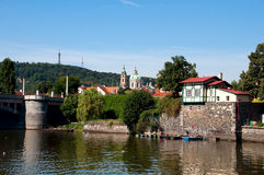 View of Vltava River Embankment, Prague Royalty Free Stock Photos