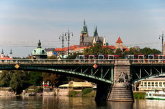 View of Vltava River Embankment, Prague Stock Photography