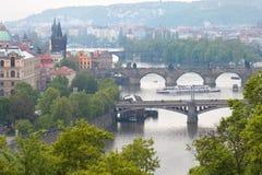 View of Vltava river with main pragues bridges Royalty Free Stock Image