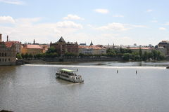 View of Vltava river and Old Town Prague  from Charles Bridge. The Charles Bridge ( Karlův most) is a famous historic bridge that crosses the Vltava river in Stock Photos