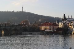 View of Vltava river and Petrin Hill in Prague, Czech Republic stock photo