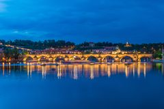 The view of vltava river in prague Stock Photos