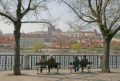 View of Vltava river and Prague castle on  the oposite bank Royalty Free Stock Image