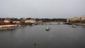 View of a Vltava river in Prague city stock video