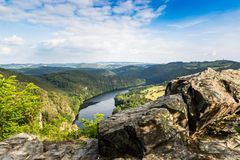 View of Vltava river from Solenice viewpoint, Czech Republic. Nice view of Vltava river from Solenice viewpoint, Czech Republic stock images