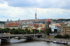 View of the Vltava River and the television tower in Prague Royalty Free Stock Photography