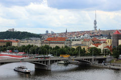 View of the Vltava River and the television tower in Prague Stock Photo