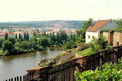 View of the Vltava River with Visegrad, Prague Stock Photos