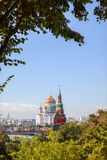 The view of Vodovzvodnaya tower and The Cathedral of Christ the Saviour Stock Image