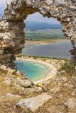 View of Voidokilia beach and Divari lagoon in the Peloponnese region of Greece, from the Palaiokastro stock image
