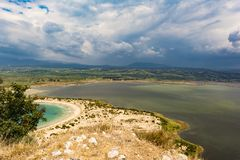 View of Voidokilia beach and the Divari lagoon in the Peloponnese region of Greece, from the Palaiokastro royalty free stock images