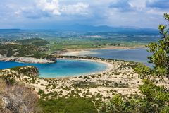 View of Voidokilia beach in the Peloponnese region of Greece, from the Palaiokastro stock photos