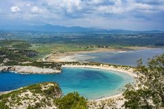 View of Voidokilia beach in the Peloponnese region of Greece, from the Palaiokastro. Old Navarino Castle stock images