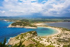 View of Voidokilia beach in the Peloponnese region of Greece, from the Palaiokastro royalty free stock photos