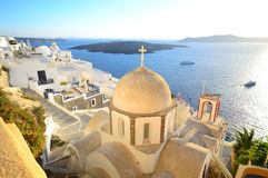 View of a volcanic caldera and St. John's church from Fira, Sant Royalty Free Stock Image