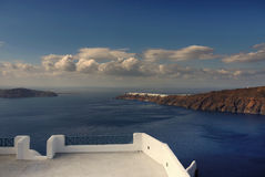Santorini island, Greece. Hotel terrace view on sea and volcanic Santorini island. Greece stock image