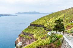 Santorini landscape and Aegean Sea in Fira, Greece. View of volcano caldera and Aegean Sea in Fira, Santorini landscape, Greece royalty free stock photo