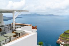 Santorini landscape in Fira, Greece stock photos