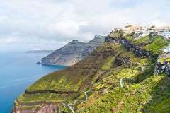 Santorini landscape with view of volcano caldera, Greece royalty free stock photography