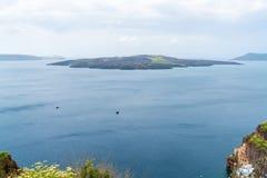View of volcano caldera and Aegean Sea in Fira. Santorini landscape, Greece stock photo