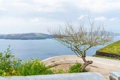View of volcano caldera and Aegean Sea in Fira. Santorini landscape, Greece stock images