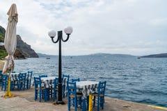 View of volcano caldera and Aegean Sea in Fira. View of volcano caldera and Aegean Sea from harbour in Fira, Santorini landscape, Greece royalty free stock photos