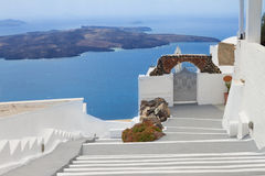 View of volcano caldera with stairs, Santorini Royalty Free Stock Photos