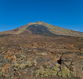 View of volcano crater and lava field Stock Photo