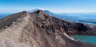 View of the volcano from the edge of the crater Royalty Free Stock Images
