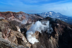 View of the volcano from the edge of the crater Royalty Free Stock Image