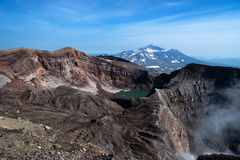 View of the volcano from the edge of the crater Royalty Free Stock Photo