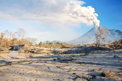 View of volcano eruption. Mount Merapi erupts and destroys the surrounding area Royalty Free Stock Photography