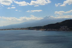 View of volcano etna. From castelmola Royalty Free Stock Photography