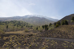 View of Volcano Etna from Mounts Sartorius Royalty Free Stock Images