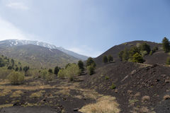 View of Volcano Etna from Mounts Sartorius Royalty Free Stock Photography