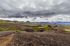 View on a volcano and glacier, Iceland Royalty Free Stock Photos