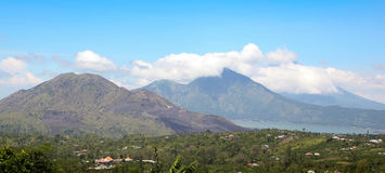 View of the volcano and Lake Batur. In Bali Stock Images