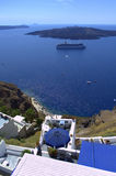 Looking at  the volcano Nea Kameni,Santorini Royalty Free Stock Photography